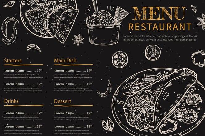 Рисованное меню доски для ресторана