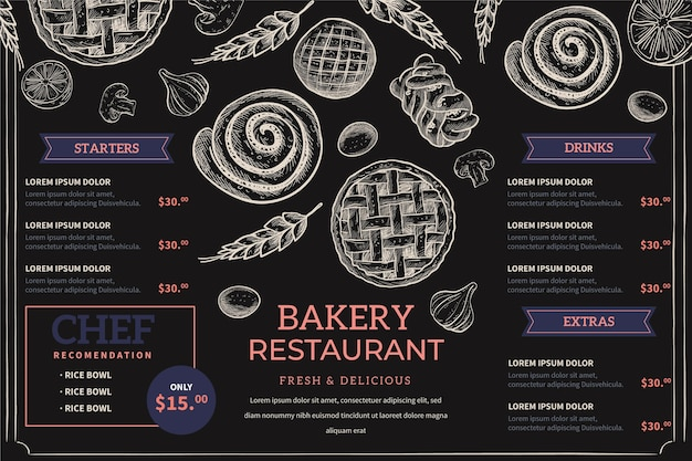 Hand drawn blackboard menu for restaurant