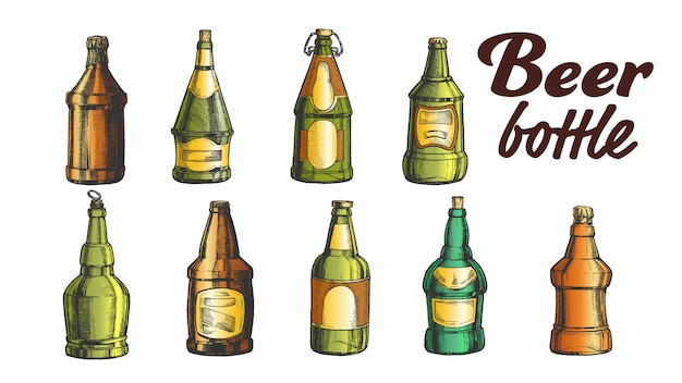 Hand drawn blank color beer bottle set