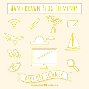 Hand drawn blog elements in yellow color
