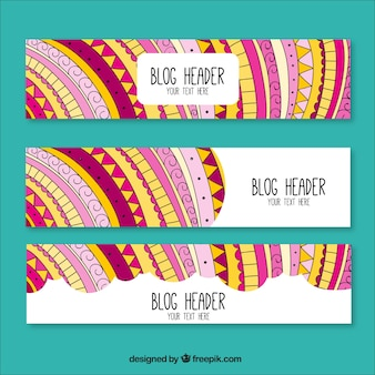 Hand drawn blog headers in ethnic style