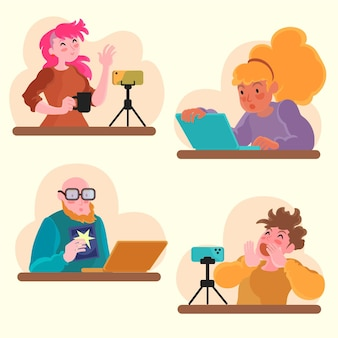 Hand drawn bloggers illustration
