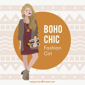 Hand drawn blond model with boho clothes