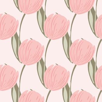 분홍색 튤립 꽃이 인쇄된 손으로 그린 꽃 원활한 패턴입니다. 밝은 배경. 손으로 그린 장식. 섬유, 직물, 선물 포장, 월페이퍼에 대한 평면 벡터 인쇄. 끝없는 그림.