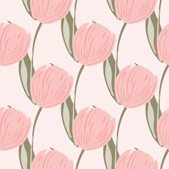 Hand drawn bloom seamless pattern with pink colored tulip flowers print. light background. hand drawn ornament. flat vector print for textile, fabric, giftwrap, wallpapers. endless illustration.