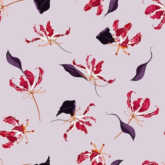 Hand drawn blooming flame lily floral garden botanical flower seamless pattern vector background