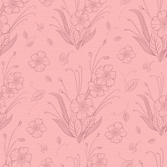 Hand drawn blooming flower seamless pattern