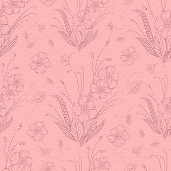 手描きの咲く花のシームレスパターン