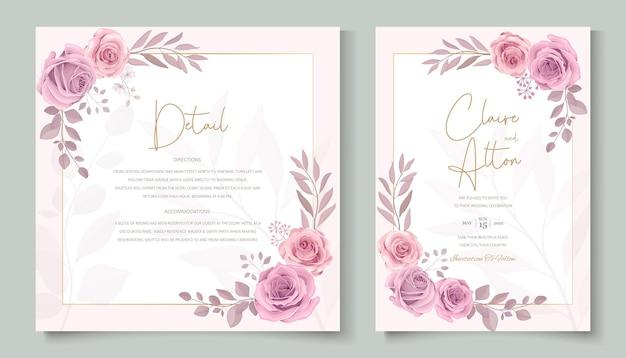 손으로 그린 개화 장미 꽃 웨딩 카드 디자인