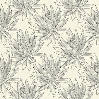 손으로 그린 블루 용설란 벡터 완벽 한 패턴입니다. 즙이 많은 식물 벽지. 빈티지 스타일 조각. 벡터 일러스트 레이 션.