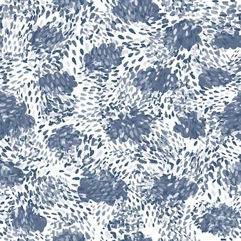 흰색 바탕에 손으로 그린된 파란색 혼란 점 완벽 한 패턴입니다. 추상 모양 배경 화면입니다. 직물, 직물 인쇄, 포장지, 어린이 직물을 위한 디자인. 벡터 일러스트 레이 션