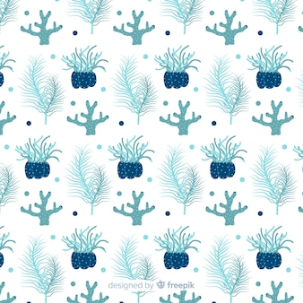 Hand drawn blue coral background