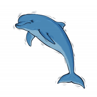 Hand drawn blue dolphin with black line art