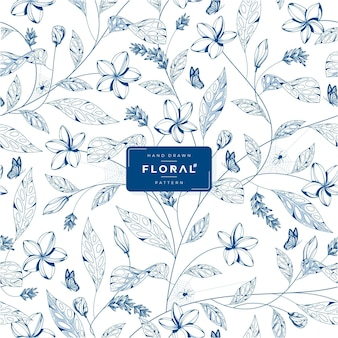Hand drawn blue ink floral pattern