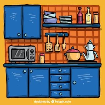 手描き青キッチン