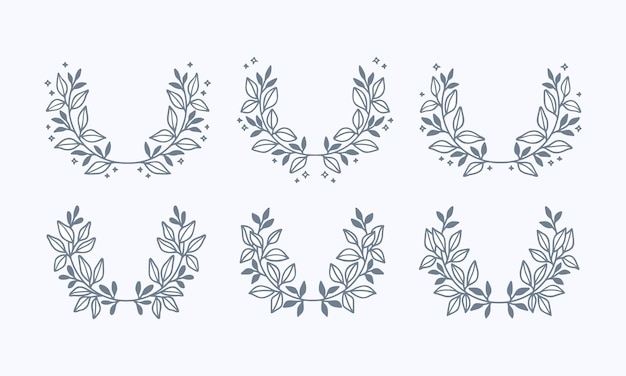 Hand drawn blue leaf floral wreath collection