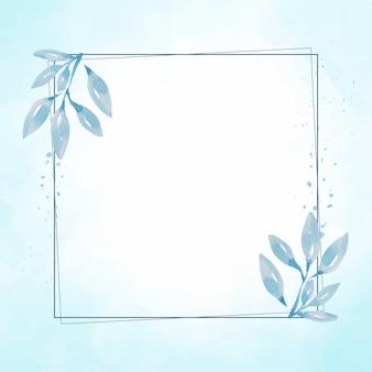Ручной обращается синий лист рамки на акварель синий всплеск