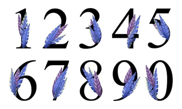 손으로 그린된 파란색 보라색 잎 숫자 편지 디자인 편집 가능