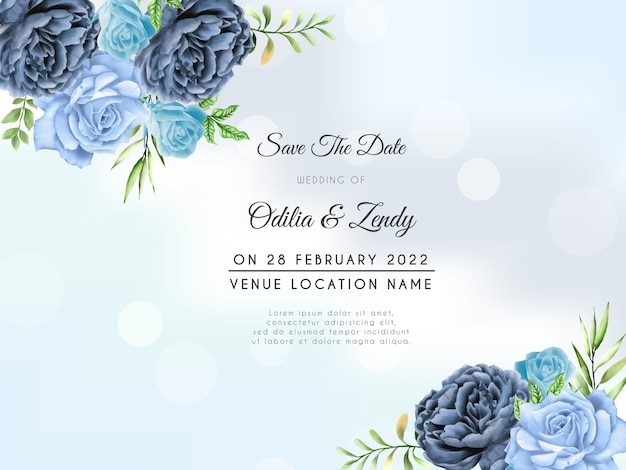 Hand drawn blue roses wedding invitation template