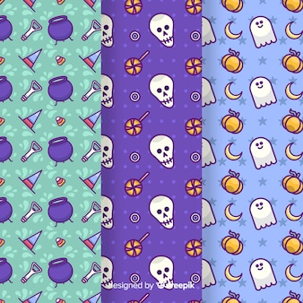 Hand drawn on blue shades halloween seamless pattern