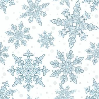 Hand drawn blue snowflakes pattern