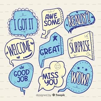 Hand drawn blue speech bubbles