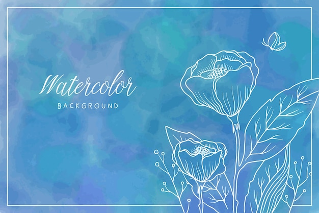 손으로 그린 꽃과 푸른 수채화 배경
