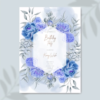 Hand drawn blue watercolor floral birthday invitation template