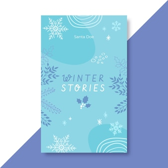 Hand drawn blue winter book cover