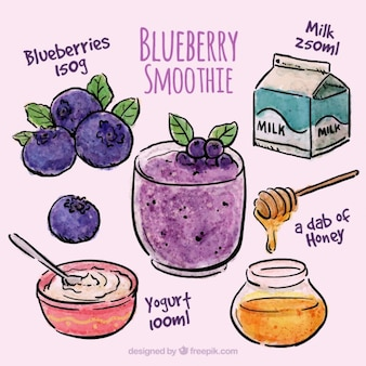 Hand drawn blueberry smoothie