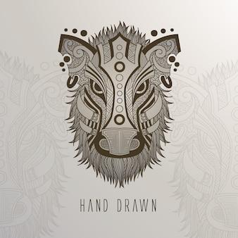 Hand drawn boar's head