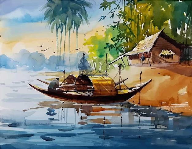 村のイラストで川の手描きボート