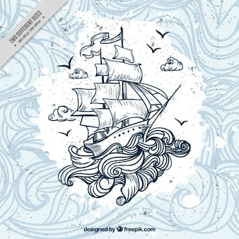 Hand drawn boat with waves background