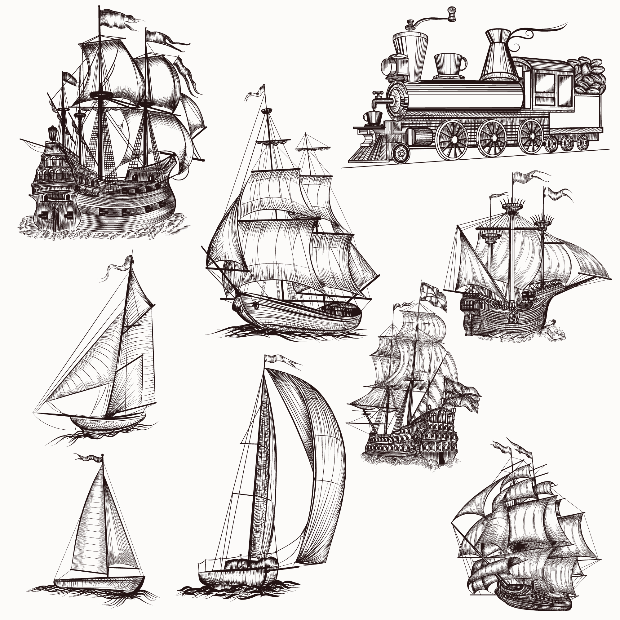 Hand drawn boats collection