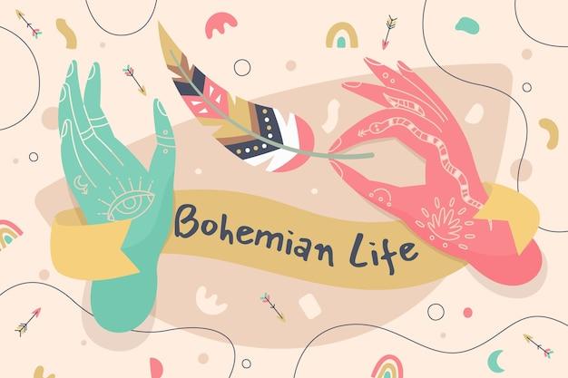 Sfondo di vita bohémien disegnato a mano