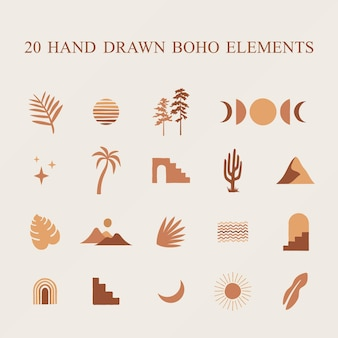 Hand drawn boho abstract elements clipart for your design projects posters logos and so much more
