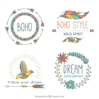 Hand drawn boho aelements with soft tones