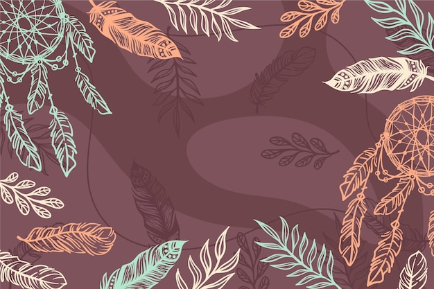 Hand drawn boho background with feathers and dreamcatcher