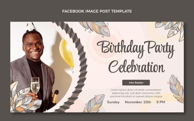 手描きの自由奔放に生きる誕生日のfacebook
