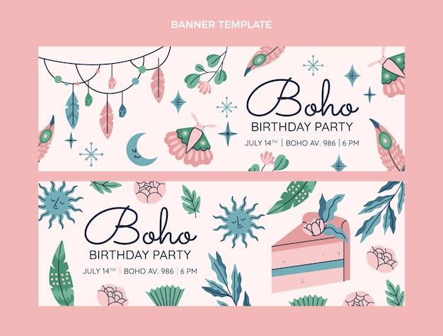 Hand drawn boho birthday horizontal banners set