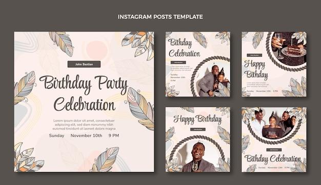 Нарисованный рукой пост в instagram на день рождения в стиле бохо