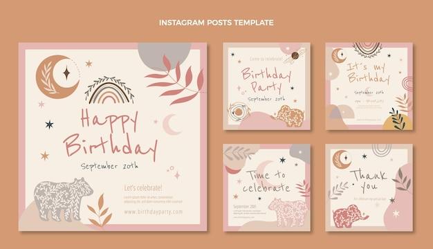 手描きの自由奔放に生きる誕生日のinstagramの投稿