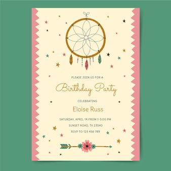 Modello di invito di compleanno boho disegnato a mano