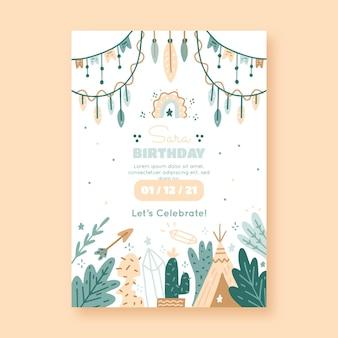 Hand drawn boho birthday invitation template