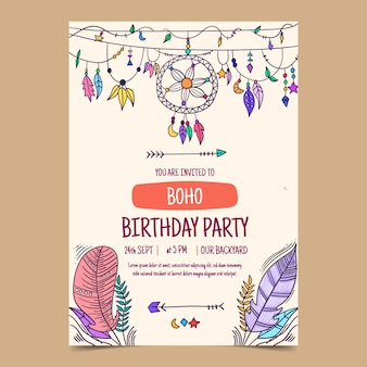 Приглашение на день рождения в стиле бохо