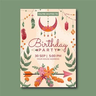 Hand drawn boho birthday invitation