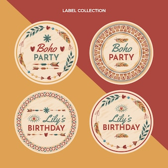 Hand drawn boho birthday labels