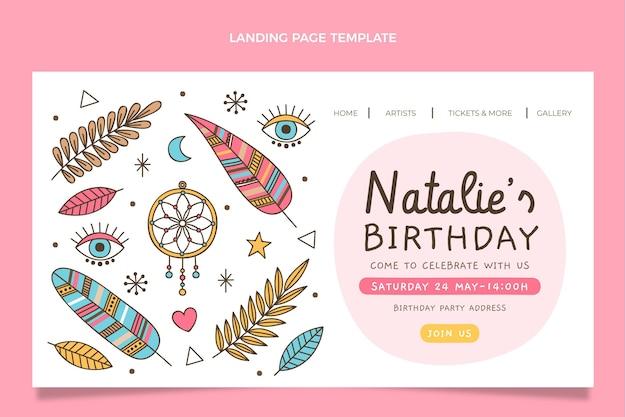 Modello di pagina di destinazione di compleanno boho disegnato a mano