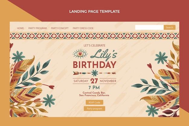 Pagina di destinazione del compleanno boho disegnata a mano