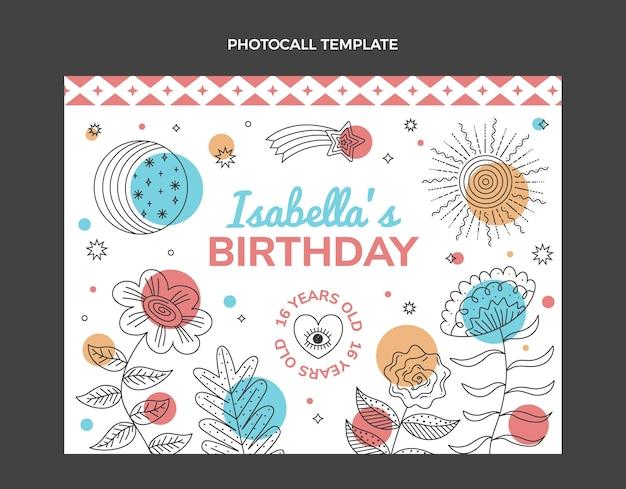 Photocall di compleanno boho disegnato a mano